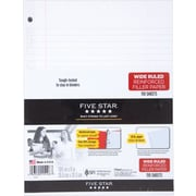 Five Star® Reinforced Filler Paper, White, Wide Rule, 8 x 10-1/2, 110 Sheets