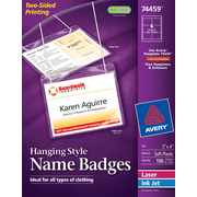 Avery® Hanging White Name Badges 74459, 3 x 4
