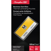 """Swingline® GBC UltraClear™ Thermal Laminating Pouch, 2-3/16"""" x 3-11/16"""", 5 mil, Business Card Size, 25/Pack"""