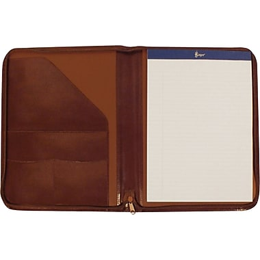 Royce Leather – Porte-documents à fermeture éclair en cuir, havane, estampage argenté, nom complet