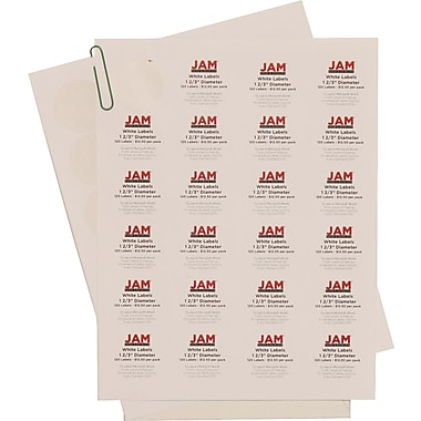 JAM Paper® 1.6in. Circle Label Sticker Seal, White, 120/Pack