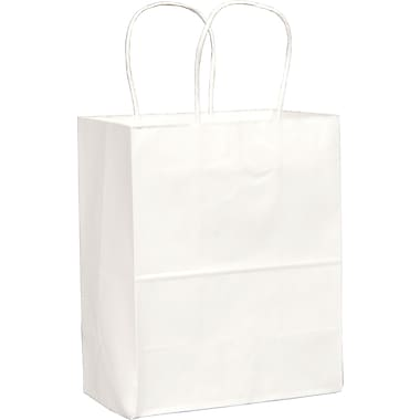 White Paper Shopping Bags, Tempo, 250 pk
