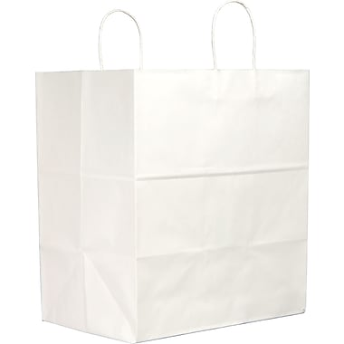 White Paper Shopping Bags, Super Royal, 200 pk