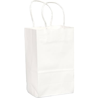 White Paper Shopping Bags, Gem, 250 pk