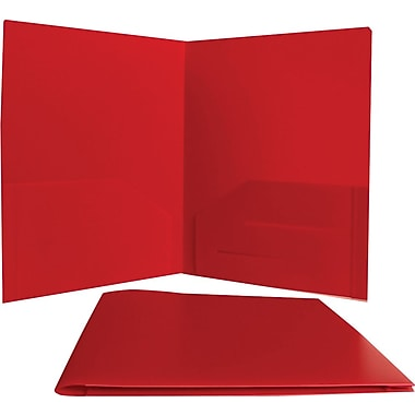 JAM Paper® 9in. x 12in. Plastic Heavy Duty Two Pocket Presentation Folder, Red,6/Pack