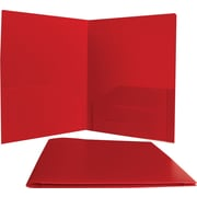 JAM Paper® Plastic Heavy Duty Two Pocket Presentation Folder, Red, 6/Pack