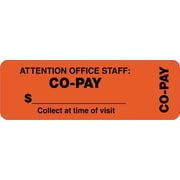 Tabbies® Insurance Labels, Co-Pay, Orange