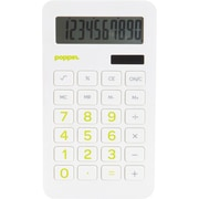 Poppin White Eco Calculator with Lime Green Numbers