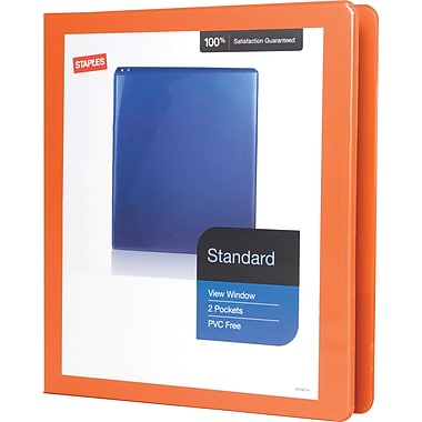 1in. Staples® Standard View Binder with D-Rings, Bright Orange
