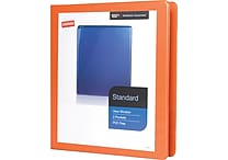 1' Staples® Standard View Binder with D-Rings, Bright Orange