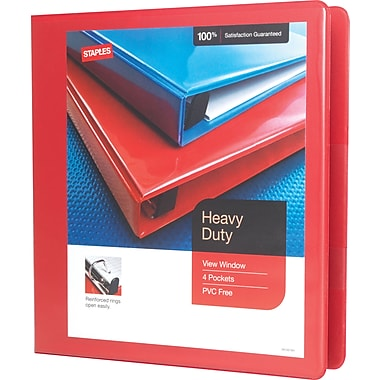 1-1/2in. Staples® Heavy-Duty View Binder with D-Rings, Red