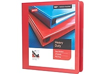 1-1/2' Staples® Heavy-Duty View Binder with D-Rings, Red