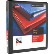 "1"" Staples® Heavy-Duty View Binder with D-Rings, Black"