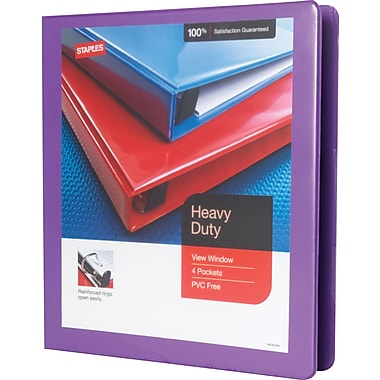 Staples Heavy-Duty 1-Inch Slant D 3-Ring View Binder, Purple (24673-US)