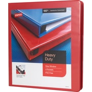 Staples Heavy-Duty 1-Inch D 3-Ring View Binder, Red (24669-US)