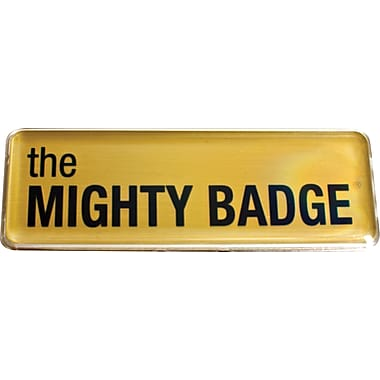 The Mighty Badge™ Name Badge Starter Kit for Inkjet Printers, Gold, 1in. x 3in. Badges, 10/Pack