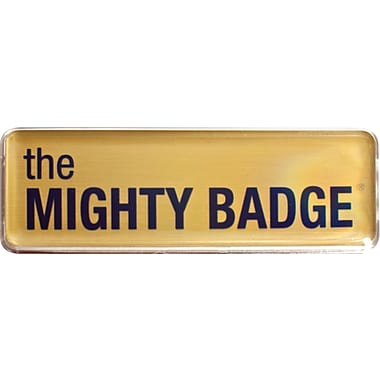 The Mighty Badge 901708 Name Tag Starter Kit for Laser Printer, Gold, 10/Pack