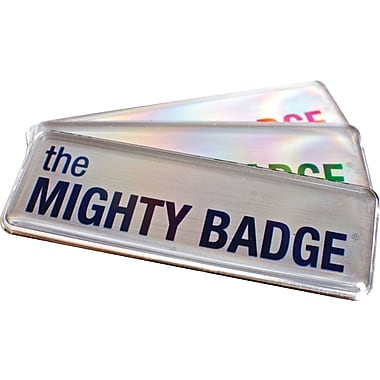 The Mighty Badge™ Name Badge Starter Kit for Inkjet Printers, Silver, 1in. x 3in. Badges, 10/Pack
