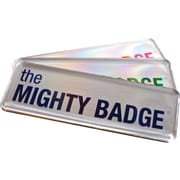 The Mighty Badge Name Badge Starter Kit for Inkjet Printers, Silver, 1 x 3 Badges, 10/Pack