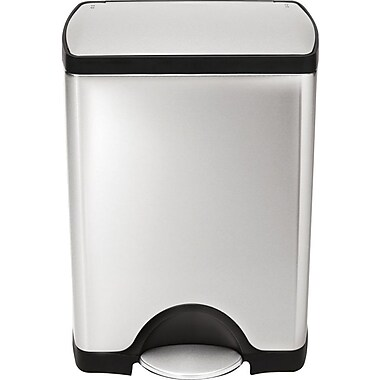 Simplehuman Rectangular Step Trash Can, Stainless Steel, 8 Gallon