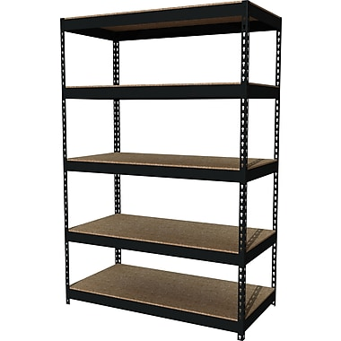 Hirsh Heavy Duty Industrial Steel Shelving, 5 Shelves, Black, 72
