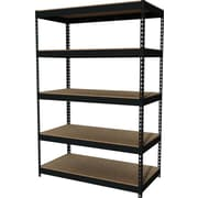 Hirsh Heavy-Duty Riveted Boltless Steel Shelving, 5 Shelves, Black, 72H x 48W x 24D