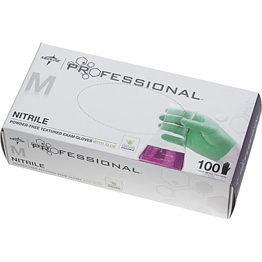 Medline Professional Nitrile Exam Glove with Aloe, Medium