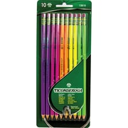 Ticonderoga No. 2 Soft Pre-Sharpened Assorted Neon Woodcase Pencils, 10/Pack