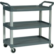 Rubbermaid® Xtra™ Open-Sided Utility Cart, 3-Shelf, Gray
