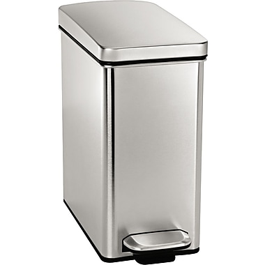 simplehuman Profile Step Can, 2.6 Gallon, Stainless Steel, 13 1/3