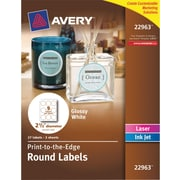 Avery® Permanent Glossy White Round Labels 22963, 2-1/2