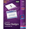 Avery® Garment Friendly™ Clip Style White Name Badges 74536, 3in. x 4in.