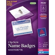 Avery® Garment Friendly™ Clip Style White Name Badges 74536, 3 x 4