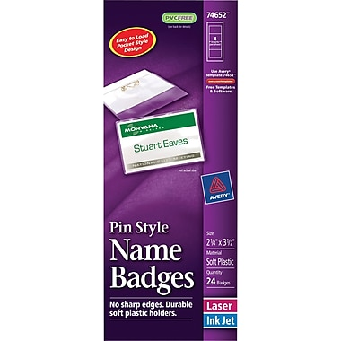 Avery® Pin Style White Name Badges with Flexible Holder 74652, 2-1/4in. x 3-1/2in.