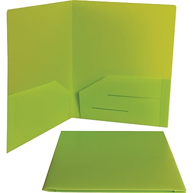 JAM Paper® 9in. x 12in. Plastic Heavy Duty Two Pocket Presentation Folder, Lime Green,6/Pack