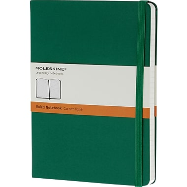 Moleskine Classic Colored Notebook, Extra Large, Ruled, Hard Cover, Oxide Green, 7.5in. x 10in.