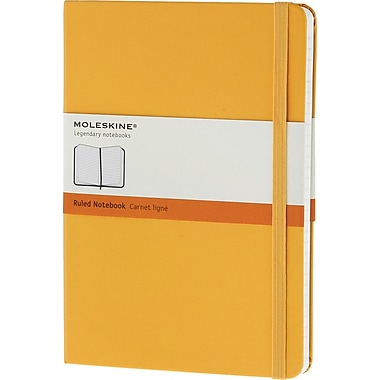 Moleskine Classic Colored Notebook, Extra Large, Ruled, Hard Cover, Yellow Orange, 7.5
