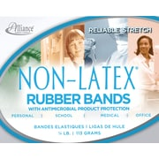 "Alliance Non-Latex Rubber Bands with Antimicrobial Product Protection, #33 (3 ½"" x 1/8"") Cyan Blue, ¼ lb. Box"