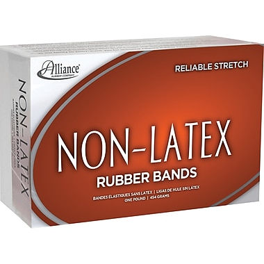 Alliance Orange Non-Latex Rubber Bands , #54 (Assorted Sizes), 1 lb. Box