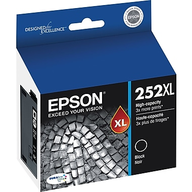 Epson 252 Black Ink Cartridge, High-Capacity (T252XL120)