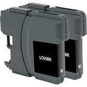 Staples Remanufactured Black Ink Cartridges, Brother LC65HYBK (SIB-RLC65B2DS), High Yield, Twin Pack