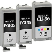 Staples Remanufactured Black and Tricolor Ink Cartridges, Canon PGI-35/CLI-36 (SIC-35363PKDS), Combo 3/Pack