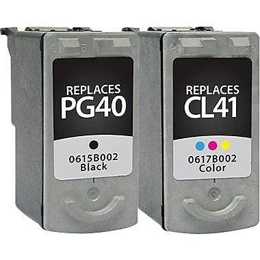 Staples Remanufactured Black and Tricolor Ink Cartridges, Canon PG-40/CL-41 (SIC-R4041CPDS), Combo 2/Pack