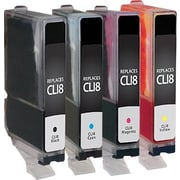 Staples Remanufactured Black and C/M/Y Color Ink Cartridges, Canon CLI-8 (SIC-RCLI84PKDS), Combo 4/Pack