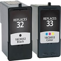 Staples® Remanufactured Black and Tricolor Ink Cartridges, Lexmark 32/33 (SIL-R3233CPDS), Combo 2/Pack