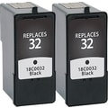 Staples® Remanufactured Black Ink Cartridges, Lexmark 32 (SIL-R32B2DS), Twin Pack