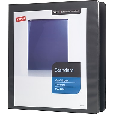Staples® Standard View Binder with D-Rings, 1 1/2