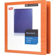 1-1/2 Staples® Standard View Binder with D-Rings, Bright Orange