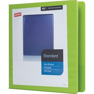 StaplesMD – Reliure de présentation standard avec anneaux en D, 1 1/2 po, chartreuse