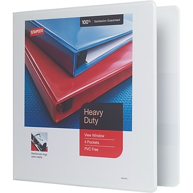 Staples Heavy-Duty 2-Inch Slant D 3-Ring View Binder, White (24688-US)